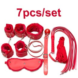 Conjunto De Puños De Cuero Baratos-Sex Toy Leather Bondage Restraints 7 Unids / set Fetish Whip Rope Venda de los Muñecas Muñeca Cuello Boca Gag Bondage Arnés Kit