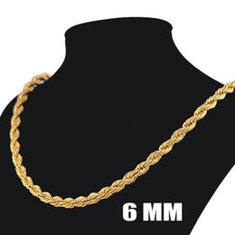 $enCountryForm.capitalKeyWord Canada - HOT Europe and America Fashion Stainless Steel Jewelry 18K Gold Plated Chains For Necklaces Top Quality Gold Rope Chains For Men Xmas Gift
