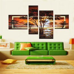 $enCountryForm.capitalKeyWord Canada - 100%handpainted 4 pcs set yellow modern landscape oil paintings on canvas wall art African pictures for living room home decor