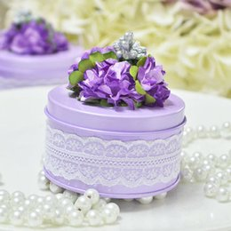 PaPer round flower decoration online shopping - New Fasion Wedding Favor Boxes Round Shaped Purple with Paper Pom Pom Flowers on Topper Decorations Metal Candy Box Party Favors