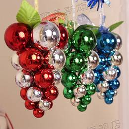 2015 Christmas Decoration Xmas Tree Ornaments Electroplating Grape Balls  Light Colorful Plastic Ball X'mas Trees Staphylo Decorate 4pcs lot