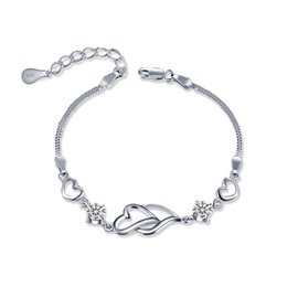 Discount track days - Free Shipping with tracking number Top Sale 925 Silver Bracelet heart to heart AAA CZ Bracelet Silver Jewelry 10Pcs lot
