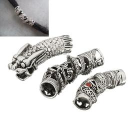 Toptan satış 3 Adet / grup Tibet Gümüş Ejderha Saç Örgü Boncuk Örgü Dreadlock Dreadlock Tüp Boncuk Yüzük Örgü Saç Uzatma Için Cilp Manşet