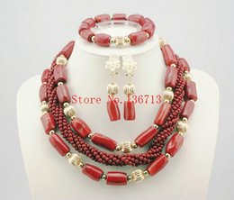 Indian Coral Beads Australia - 2016 luxury african coral beads necklace set nigerian wedding african beads jewelry set Free shipping HD304-2