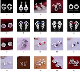 Discount christmas gift nails - 925 Silver jewelry shine color crystal Earrings women girls nail Earrings 30Pairs Mix 20 style Choices Earrings Best gif