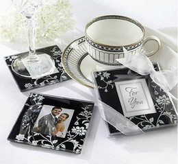Framing mats online shopping - Square Photo Frame Glass Coaster cup mats pads gift box ribbon wedding favors baby shower wedding gift