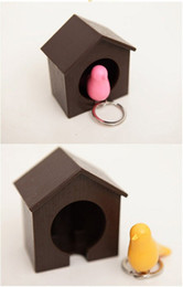 Bird Keychain Holder UK - Hot selling Sparrow Bird House Nest Whistle Key Holder Chain Ring Keychain Holder Boxed mix color top quality E451L