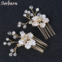 Barato Bridal Head Wear Flores-Classical Pearl Flowers Hair Combs Set Bridal Headpiece 6 * 4cm Crystal Beads Bridesmaid Girls Head Wear Cabelo Vintage Clip Hairwear