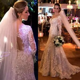 Barato Mais Tamanho Vestido De Lantejoulas-2018 Vintage Mermaid Lace Wedding Dresses Appliques Sequins Manga comprida Vestidos de casamento Sweep Train Covered Buttons Vestido de noiva Plus Size