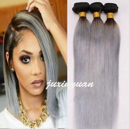 Brazilian Human Hair Ombre Grey NZ - remy Ombre har Brazilian extensions 100g Bundle 6A Brazilian straight hair Weft T1B#   Grey Human best Hair Extensions Weave 3pcs  lot