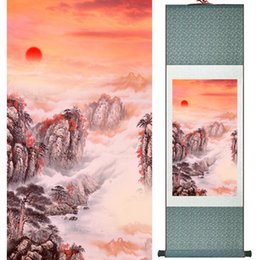 mountain home painting NZ - 1 Piece HD Printed Sunset Mountain Wall Pictures Chinese Scroll Silk Wall Art Poster Picture Painting Home Decoration Wall Hanging