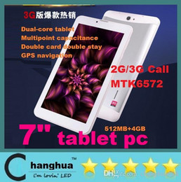 Cheap 3g Touch Screen Phones Canada - Cheap 7inch HD Screen 1024x600 Pixel 3G Phone Call Tablet android 4.2 4.4 MTK6572 Dual Core bluetooth Wifi Dual Camera with flash dhl free