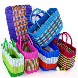 Wholesale Plastic Storage Bag Woven Baskets Top Handle Bags Designer Tote  Bags Handbags 2015 Hand Basket Bath Bathing Blue V10G6