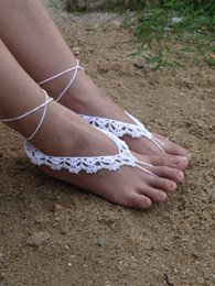 $enCountryForm.capitalKeyWord Australia - Hot Sale Beach wedding Foot ornaments White Flower Handmade pure Cotton Flower Crochet Barefoot Sandals women foot Jewelry Ankle P1270936
