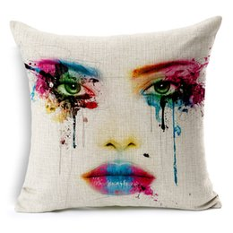 Painting Faces UK - Body Color Painting Art Cushion Covers Watercolor Beauty Girl Eyes Face Pillow Cover Decorative Linen Cotton Pillow Case For Sofa Seat Chair