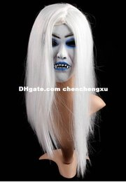 Female Dresses NZ - Party Christmas cosplay Halloween Masquerade Mask latex white hair simulation terrorist bloody grimace headgear female mask dresses