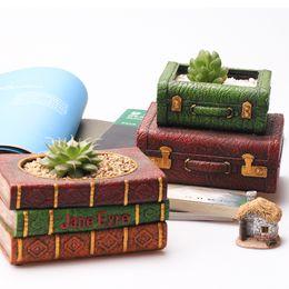 $enCountryForm.capitalKeyWord Australia - 2pc set Creative Resin Flowerpot Book Succulent Plant Pot Suitcase Flower Pot Home Garden Decor Bonsai Planter 1 Book+1 Suitcase