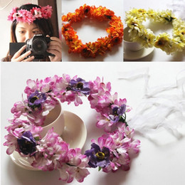 Ruban Floral Bon Marché Pas Cher-2015 Summer 4 Color Beach Wedding Garland Bohemian Headband avec fleurs multicolores Floral Garland Accessoires de cheveux nuptiaux avec ruban bon marché