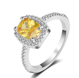 white gold celtic rings Canada - 3.00CT Yellow CZ Diamond Solid Platinum PT950 Engagement Wedding Ring White Gold Filled