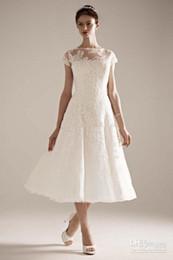 $enCountryForm.capitalKeyWord NZ - New Style Tea Length Short Wedding Dresses Cap Sleeve Bateau Neck Beaded Lace Tulle A-Line Zip Back Bridal Gowns Custom Made W715
