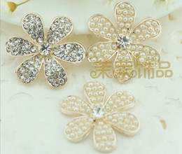 diamond hair design 2019 - 20pcs 2 Design Alloy Rhinestone Pearl Flower Beads Button For Scrapbooking Craft DIY Hair Clip Fashion Accessories cheap