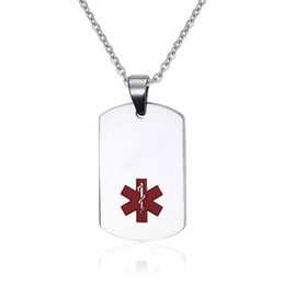 medical alert jewelry UK - Medical Alert Stainless Steel Large ID Dog Tag Pendant Necklace Mens Medical ID Jewelry Includes 20 Inch Chain