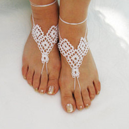 Wholesale crochet Women Crochet Triangles Shoes Handmade Design Shoes Sexy White Sandals Beach Wedding Trending Yoga Shoes