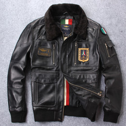 Lamb jackets men online shopping - New arrival badge the USA air force flight suit Genuine sheepskin leather jacket with lamb fur collar