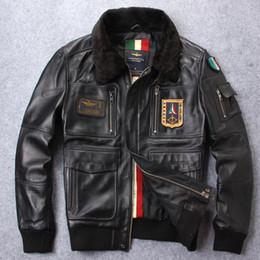 Novo emblema de chegada dos EUA força aérea vôo terno Genuine jaqueta de couro de pele de carneiro com gola de pele de cordeiro venda por atacado