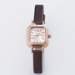 Small Square Watch Canada - New Pollock Gold Women's Watches Girl Student Watches Small Dial Leather Ladies Square Bracelet Watches Clock relogio feminino reloj mujer