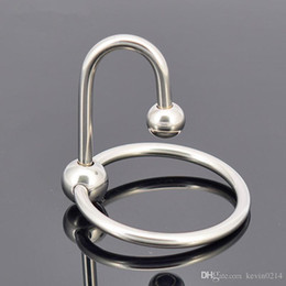 glans cock rings for penis UK - Wholesale 2 Beads Delay Ejaculation Glans Penis Ring Stainless Cock Ring Metal Male Sex Cockring Sex Product Adult Sex Toys for Men A040C