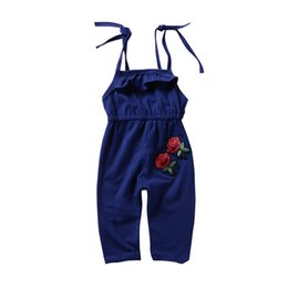 $enCountryForm.capitalKeyWord NZ - Baby Girl Roses Flower Toddler Kids Clothes Strap Sleeveless Romper Summer Jumpsuit Playsuit Outfit Kid Girl Clothing Pajamas Boutique