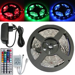 ce power strip 2019 - New Led Flexible Strip RGB 12V 5M 5050 3528 SMD 60LED M Waterproof+44Keys IR Remote Led Controller +Power supply Adapter