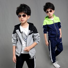 boys sport clothing set NZ - Spring Autumn Tracksuits for Boys 2017 New Casual Boys Sport Suits 2pcs Hoodies Children Clothing Set 4-12 Years Boys Clothes
