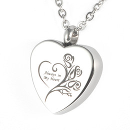 "$enCountryForm.capitalKeyWord Australia - Lily Stainless Steel Memorial Pendant ""Always in my heart"" Urn Locket Cremation Jewelry Necklace with gift bag and chain"