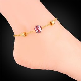 $enCountryForm.capitalKeyWord Canada - U7 Cute Ball Foot Jewelry Gold Anklet Bracelet For Women Lovers Gift 18K Real Gold Platinum Plated Foot Bracelets For Leg A928
