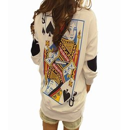 Tops Blancs Élégants Pas Cher-2015 Automne Femmes Personnalité imprimée Funny Poker Loose Casual Sweatshirt à manches longues O Neck White Hoodies Tops Pullover élégant FG1511