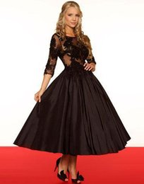 Chinese  3 4 Long Sleeves Black Appliques Sheer Backless Ball Gown Evening Dresses Tea Length Scoop Arabic Prom Gowns Part Dress manufacturers