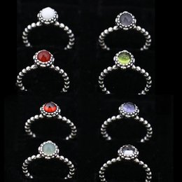 Bezel Bulk Canada - 12 colors birthday stoen rings vintage 100% 925 sterling silver big diamond solitaire pure silver rings jewelry fashion bulk