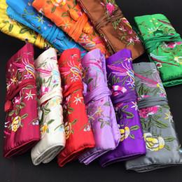 $enCountryForm.capitalKeyWord Canada - Embroidered flower Birds Satin Fabric Jewelry Roll Up Travel Bag Drawstring Women Makeup Bag Zipper Portable Cosmetic Storage Bag 10pcs lot