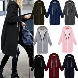 Barato Longo Zip Hoodies Para As Mulheres-Mulheres Oversized 2017 Outono Casual Long Hoodies Sweatshirt Casaco Bolsos Zip Up Outerwear Jaqueta com capuz Plus Size Tops