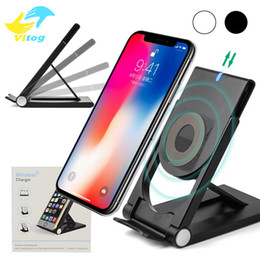 Iphone foldIng stand online shopping - 2018 High Quality Universal Qi Wireless Charger adjustable Folding Holder Stand Dock For Samsung S7 S8 Edge Plus Note Iphone X Nexus