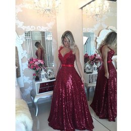 Discount special occasion dresses open backless - Red Formal Evening Prom Dresses Sequins Open Back Sleeveless Special Occasion Dresses A Line Party Gowns Arabic Plus Siz