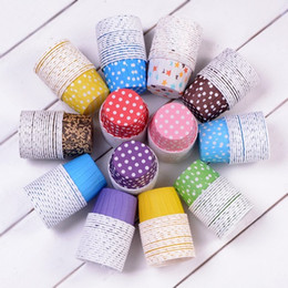 cake size cupcake Canada - Big size 10,000Pcs Baking Cups Cute Dots Solid Color Paper Cake Christmas Wedding Beautiful Design Greaseproof Paper Cupcake Cases