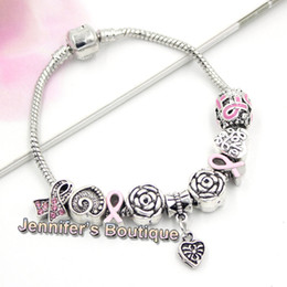 european breast NZ - New Arrival Breast Cancer Awareness Jewelry DIY Interchangeable Breast Cancer European Bead Pink Ribbon Bracelets Jewelry Wholesaler