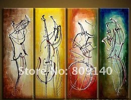 Modern Musical Instruments Canada - Stretched Abstract oil painting canvas Musical Instrument Artwork handmade Modern home livingroom office hotel wall art decor decoration