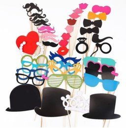 Wedding Photo Props On A Stick Mustache Party Fun Christmas Birthday Favor 44pcs per set on Sale