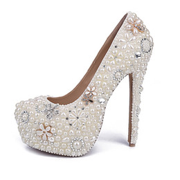 high heels big platform NZ - White Pearl Wedding Shoes Wholesales New Beautiful Flower Rhinestone Bridal Shoes Platform High Heels Big Size Women Pumps