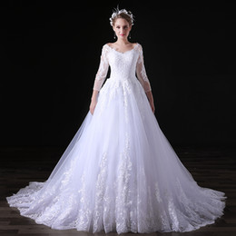 tull plus size wedding dress Canada - White Lace A Line Wedding Dresses 3 4 Long Sleeve V Neck Lace Applique Tull Floor Length Bridal Dresses Wedding Gown Custom Made Plus Size