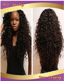 Discount big virgin black lady - 100% unprocessed 6A brazilian fashion curly virgin hair front lace wig & full lace wig glueless human hair wigs for blac